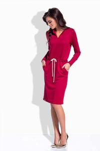 Maroon Shirt Collar Casual Midi Dress