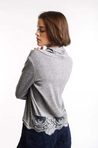 Gray Sweater with Flowy Turtleneck