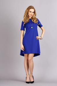 Blue Short Sleeves Flared Knee Lenght Dress