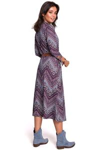 Patterned Midi Dress Buttoned Model 1