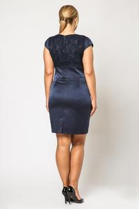 Dark Blue Elegant Evening Dress with Lace Top