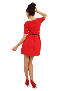 Red Magnanimous Modern Belted Tea-length Dress