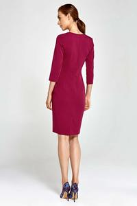 Dark Red Classic Office Style Dress