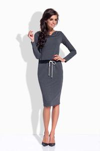 Dark Grey Drawstring Waist Midi Dress