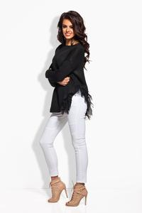 Black Long Sweater with Gauze Frill