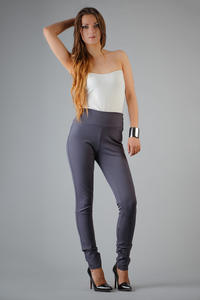 Dark Grey Slim Fit High Waist Ladies Pants