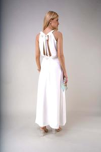 Elegant Long Dress with a Cut-Out on the Back - Ecru