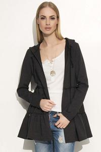 Dark Grey Comfy Jacket with Frills&Hood