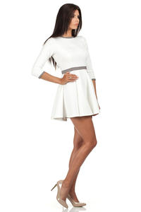 Ecru Retro Style A-line Mini Dress