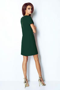 Green Mini Trapezoid Dress with V Neckline