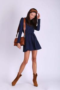 Navy Short Girlish Frill Dress