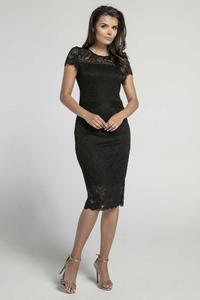 Evening Black Dress Pencil Cut Lace Features
