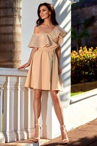 Beige Cocktail Dress for One Shoulder with Mesh Frill