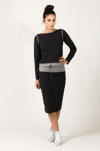 Dark Grey Fitted Sport Style Skirt