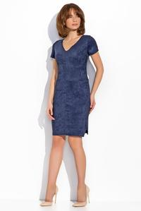 Dark Blue Knee Length Short Sleeves Dress