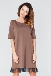 Brown 1/2 Sleeves Plain Dress with Tulle Edging