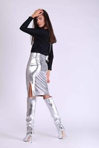 Silver Pencil Skirt of Glittering Fabric with Zipper