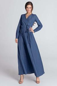 Denim Maxi Long Wrap Front Dress