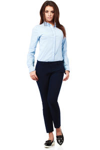 Deep Navy Blue Trendy Mode Tapered Style Long Pants