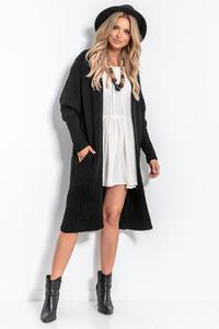 Black Long Ribbed Cardigan without Clasp