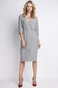 Grey Elegant Wrap Neckline Midi Dress