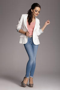 Contrast Sleeves Ecru Blazer with Twin Side Flap Pockets