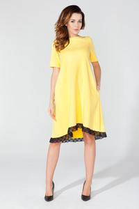 Yellow Flared Short Sleeves Dress with Lace Edging