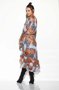 Airy Asymmetrical Dress With Frills in Pattern Print 3