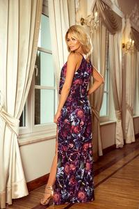 Purple Maxi Dress Tied at the Neck in Flowers