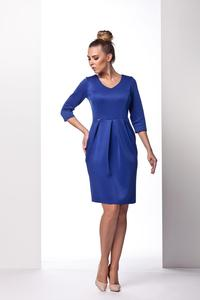 Blue Knee Length 3/4 Sleeves Dress