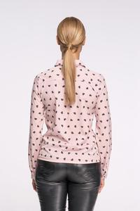 Powder Pink Casual Ladies Shirt with Hearts Pattern