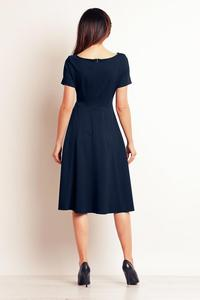 Dark Blue Short Sleeves Flared Midi Dress