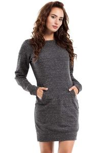 Dark Grey Sport Style Dress with Kangoo Pocket