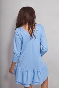 Light Blue Girlish Romantic Style Dress with Frills&Pockets