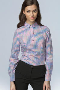 Rose Checkered Work Shirt for Women with Decorative Button Down Seam