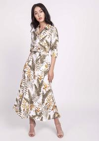 Ecru Flared dress with leaf neckline