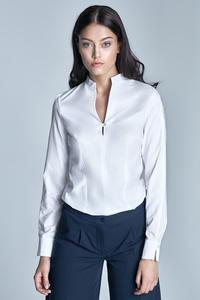 White Long Sleeves Stand-up Collar Shirt
