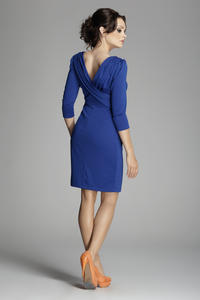 Cornflower blue Bateau Neck Sheath Dress with Long Sleeves