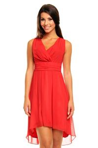 Red Dipped Back Wrap Front Coctail Dress