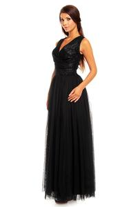 Black Evening Dress with Tulle and Lace