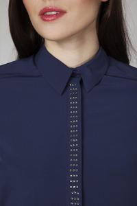 Dark Blue Classic Long Sleeves Decorative Shirt