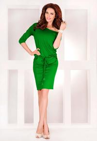 Green Casual Style Drawstring Waist Dress