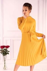 Yellow Green Pleated Dress with Built-in Neckline