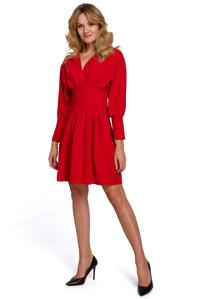 Red Wrap Front Long Sleeves Dress