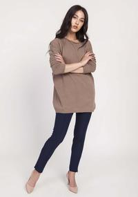 Mocca Loose Knit Blouse with Boat Neckline