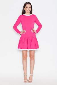 Pink Long Sleeves Dress with White Contrasting Piping