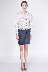 Ecru Patterned Romantic Blouse with Frills