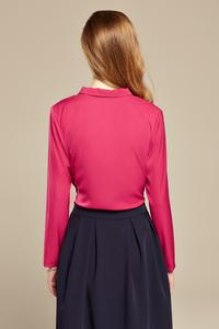 Fuchsia Chic Self Tie Bow Elegant Blouse