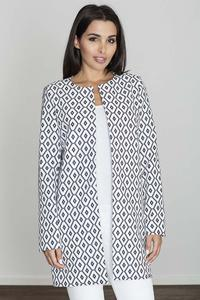 Black&White Round Neckline Open Ladies Blazer