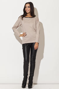 Drop Shoulder Elbow Patch Bateau Neck Beige Sweater